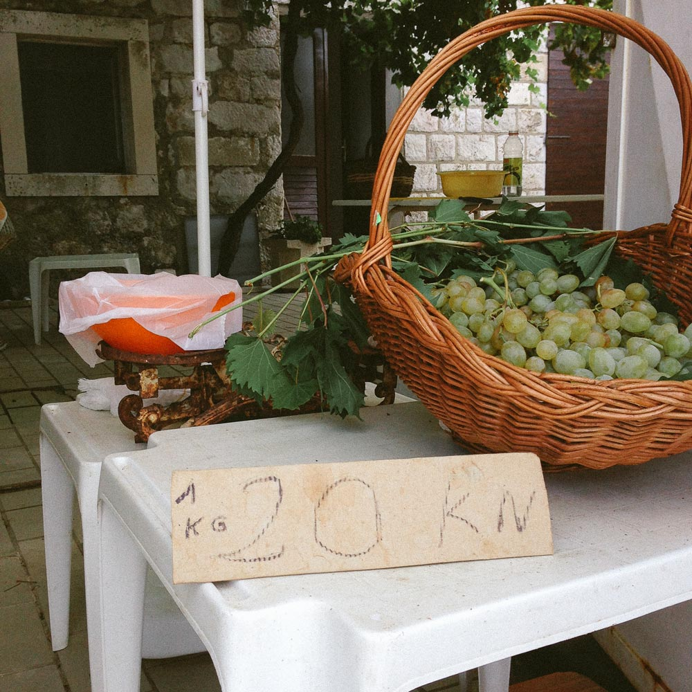 Grapes for Sale in Lopud, Croatia